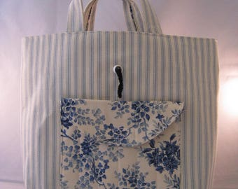 Blue And Cream Ticking And Floral Crochet Tote Bag