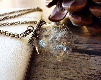 Dandelion necklace, Dandelion seed necklace, Dandelion wish necklace, Real dandelion necklace, Dandelion jewelry, Dandelion seed pendant