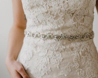 Silver Bridal Belt   Silver Crystal Bridal Sash   Rhinestone Wedding Sash   Bridal Accessories   Bridal Belt   Bridal Sash   Azalea