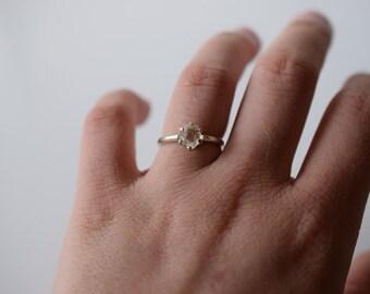 Raw Diamond Engagement Ring, Rough Diamond Ring, Uncut Diamond Ring, Anniversary Ring, Simple Sterling Silver Engagement Ring, Size 7 Avello