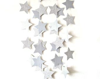 Silver glitter star garland,  - shimmer garland, silver shimmer garland, glitter stars, silver shimmer wedding, silver engagement party,