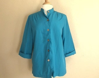 Vintage TURQUOISE Blue Button Up Blouse / 80s BLAIR Top / Womens Large