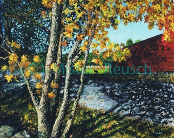 Black Bart the Bull Grazing In Autumn at John Greenleaf Whittier Birthplace Signed Print By Mark Reusch