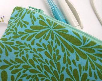 Zipper pouch, carry all pouch, pencil case, makeup bag, art supplies bag, teal gift, blue gift, green gift