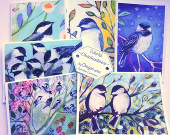 Colorful Chickadees - set of Blank Note Cards by Jenlo