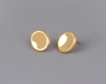 Large Gold Stud Earrings, Disc Stud Earring, Gold Pebble Earrings, Large Post Earring, Disc Earrings, Minimalist Gold Earrings, Dainty Studs