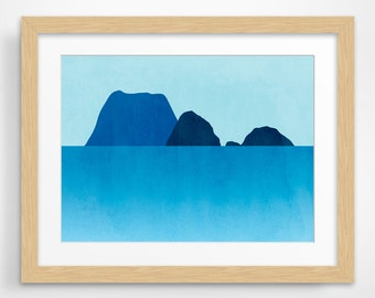 Beach Decor Large Wall Art, Ocean Seascape Art, Minimalist Poster, Large Print, Blue
