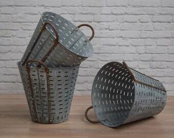 Vintage Industrial Metal Olive Basket Shellfish Bucket Storage Shop Display