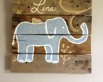 "Medium Elephant 20x20"",Rustic Wall Art on Wood,Pallet art,Safari,Paintings,wooden plank,blue elephant,baby elephant,rustic,nursery,kids room"