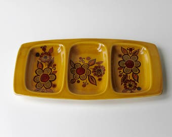 Vintage Royal Worcester group Palissy 1970's Seirra serving dish, plater. 70's nibbles dish orange with flowers. Bohemian 70's serving dish.