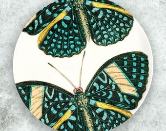 Turquoise butterfly plate