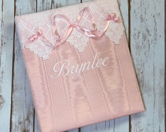 Baby Memory Book in Moiré with White Linen