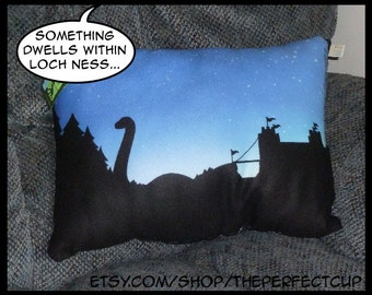 Loch Ness Monster Pillow - cryptid cryptozoology sea lake serpent dragon scotland scottish nessie fantasy mythological creature plesiosaur