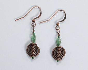 Green & Copper Earrings, Glass and Copper Earrings