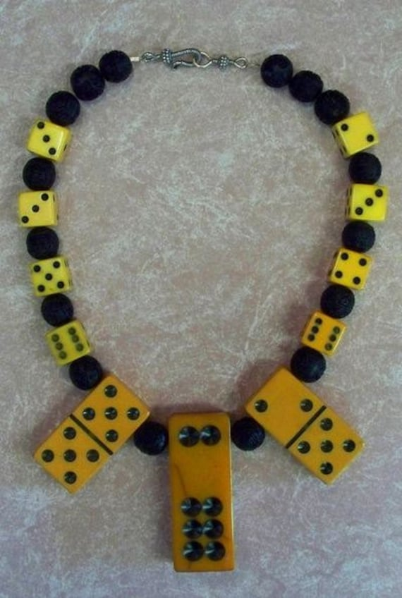 Incredible  Bakelite Domino and Dice Necklace