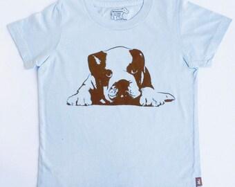 Organic S/S Light Blue Puppy Shirt - 2 to 12 years