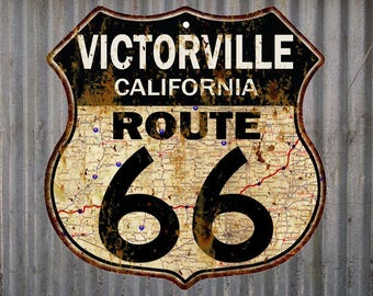 Victorville, California Route 66 Vintage Look Rustic 12X12 Metal Shield Sign S122074
