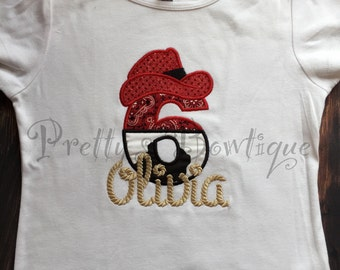 Girls Western Birthday Shirt-- Cowgirl Birthday shirt-- Farm Birthday - Cowboy or Cowgirl birthday shirt any age. Can customize colors