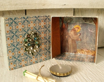 Mini prayer box Christian shrine St Francis meditation upcycled embellished pocket size/ free shipping US