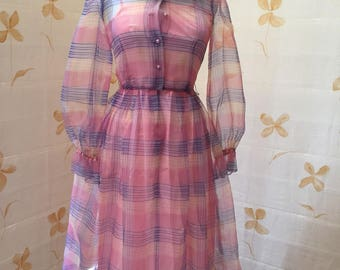 1960s vintage silk organza frock with balloon sleeves and ruffle collar