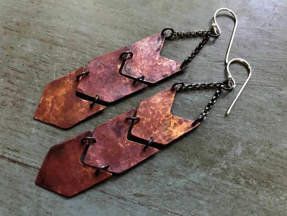 Copper Chevron Earrings - Triple