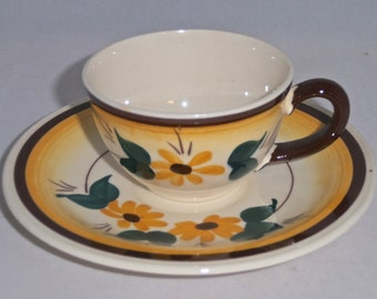Vernon Kilns Demitasse Teacup Brown Eyed Susan Cup and Saucer