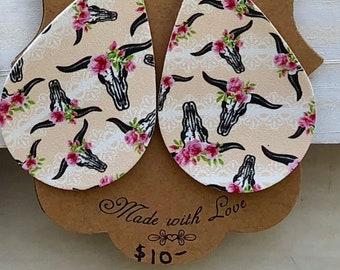 Boho cow teardrop vegan leather earrings
