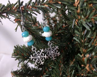 Blue and White Stone and Glass Bead Snowflake Earrings - Snowflake Earrings - Winter Jewelry