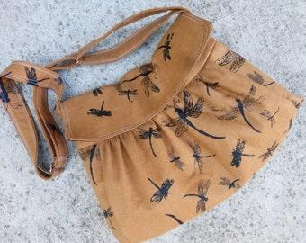 Large Computer Messenger Bag - Dragonflies - Adjustable Strap - Pockets - Key Fob - 3 slip pockets - 1 zip padded pocket