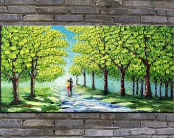 original oil painting,landscape painting,impasto,heavy texture,huge size,palette knife painting- A couple in spring time