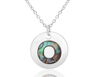 Letter O Initial Necklace Abalone Necklace Abalone Pendant Birthday Gift Hypoallergenic Jewelry Abalone Shell Jewellery Paua Shell Necklace