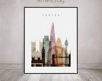 London watercolor print, London poster, London Wall art, London skyline, England, travel decor, home decor, gift, ArtPrintsVicky.