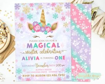 Winter Unicorn Invitation, Unicorn Invitation, Snow Magical Birthday Invite, Unicorn Birthday Invitation, Unicorn Party, Winter Birthday