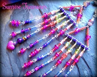 Purple & Pink Beaded Boho Chandelier Earrings, Long Seed Bead Earrings, Romantic Boho Chic Beaded Earrings, Bead Jewelry