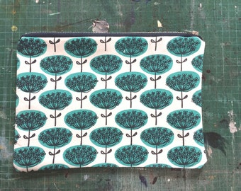 Turquoise Flower hand printed zip purse