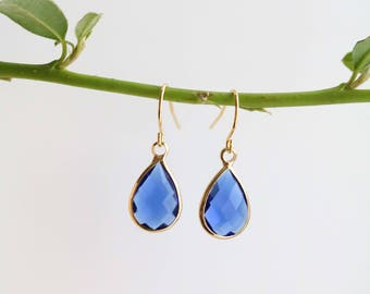 Blue Quartz Earrings - Gold Dangle Earrings - Drop Earrings - Birthstone Earrings - Blue Earrings - Gemstone Jewellery - Sapphire