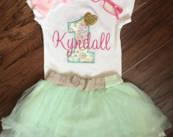 Girls First Birthday Outfit - First Birthday Shirt or Bodysuit - First Birthday Shirt - Shabby Chic Birthday - Pink and Gold Birthday
