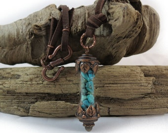 Turquoise Vial Necklace, Copper Vial Necklace with Turquoise Gemstones, Deerskin Leather Necklace, Turquoise Chips, Item 296J