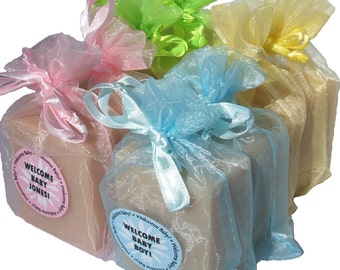 Baby Powder Handmade Cold Process Soap Bar, 4oz - baby shower favor, fresh, pastel, vegan, natural, organic sustainable palm oil,organza bag
