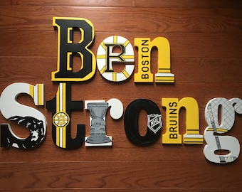 Custom Hand-Painted BOSTON BRUINS Wood Letters NHL Hockey Team Stanley Cup Champions Personalized Name... Priced Per Letter