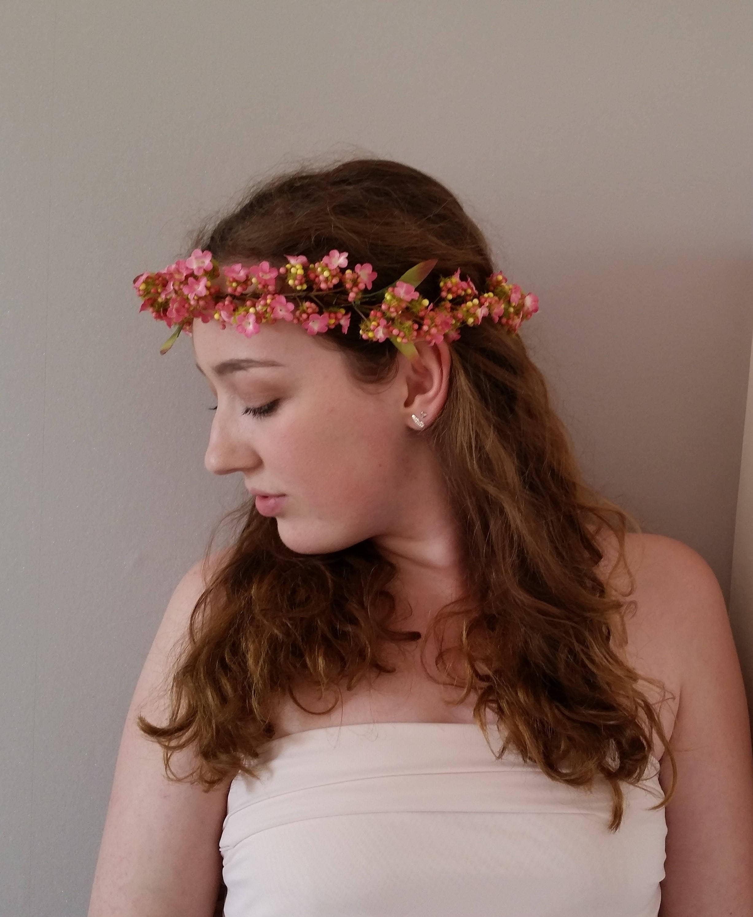 Delicate Pink Flower Crown Pretty Silk Wedding Hair