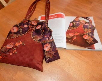 Silk and Suede Autumn Rose Handbag