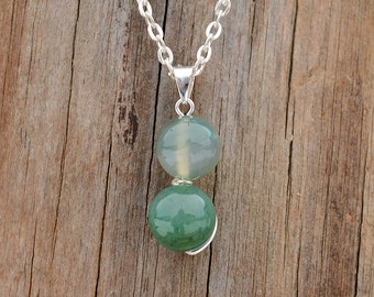 Green agate pendant, Green agate necklace, Agate pendant, Agate jewelry, Silver agate pendant, Agate necklace, Green agate gift.