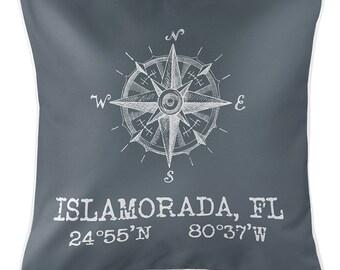 """Custom Compass Rose Coordinates Gray 20""""x20"""" Pillow, Latitude Longitude Pillow, Custom Nautical Pillow"""