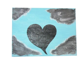 acrylic painted picture  * BLACK HEART*