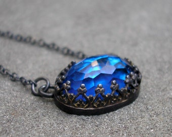 Blue Topaz Necklace - Sterling Silver, Filigree Bezel, Big Oval Rose Cut, Electric Blue