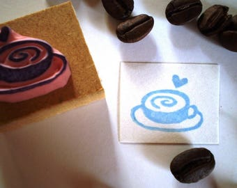 Coffee rubber stamp//hand carved rubber stamp