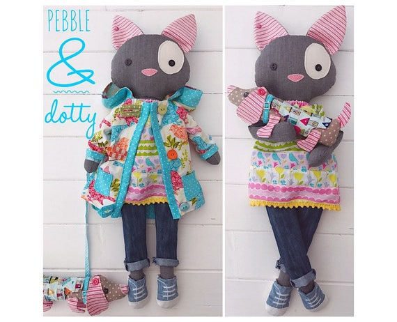 Cloth Dolls \'Pebble\' Cat and \'Dotty\' Dachshund with clothes and ...