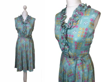 Vintage 60's Dress - 1960's Vintage Dress - Floral Print - Seafoam Green Ruffles Dress