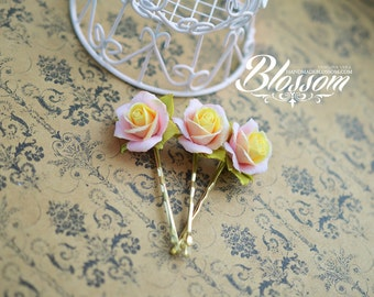 Peach rose bobby pin, Polymer clay roses pin, fimo rose flower, peach roses hair accessories, peach roses jewelry